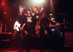 Trifecta! Strummer, Hynde, Setzer!     The plot thickens… apparently, the photo I posted yesterday was taken AFTER Brian, Chrissie and Joe were on stage together — No clue on whether or not Todd Rundgren and/or Peter Tork joined them and UNFORTUNATELY, no date for the photos.© Robert Matheu (photographer extraordinaire —- well, that's what HIS own website says about him)
