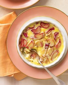 Martha's Rhubarb Custards: no water bath required. Roasted rhubarb is topped with a clafoutis-like batter and baked.