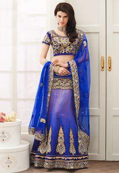 Shaded #Blue Net and Brocade #Lehenga Choli with Dupatta