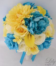 """Wedding Bridal Bouquet Silk Flowers bouquets Decoration 17 pieces Package YELLOW TURQUOISE """"Lily Of Angeles"""""""