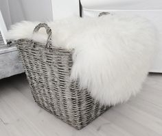 Basket By Tyynelä Rustic Feel, Rustic Chic, Animal Skin Rug, New England Style Homes, Nordic Living, Wolf Design, Sheepskin Rug, Scandi Style, White Decor