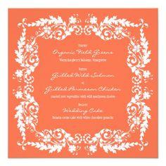Coral Floral Square Wedding Reception Menu Card Custom Invitations