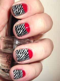 Red, black and white retro nails
