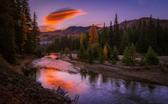 Download wallpapers mountain river, sunset, forest, mountain landscape, USA