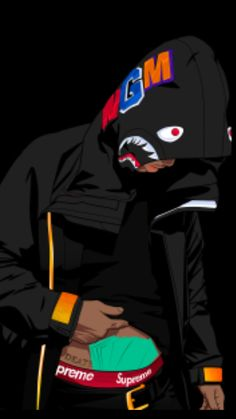 Bape Shark Wallpaper, Dope Wallpaper Iphone, Sad Wallpaper, Cartoon Wallpaper, Dope Cartoons, Dope Cartoon Art, Nike Cartoon, Black Background Wallpaper, Art Background
