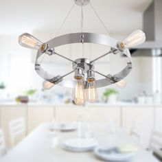 Silvery Round Vintage Barn Metal Hanging Ceiling Chandelier With 7 Lights Chrome Finish