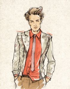Men's Fashion Illustration by Alena Lavdovskaya, the detail in the jacket is fresh and creative, i intend to incorperate similiar designs into my own illustrations.