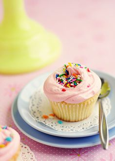 A super pretty little pink sprinkle-topped cupcake. #pastel #cake #pink #cupcakes #sprinkles #dessert #birthday #cake #food