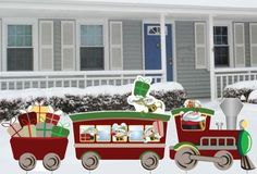 3 Piece Christmas Train Lawn Decoration  - Christmas Lawn Decorations – 3 piece set;Train set: Engine, Passenger Car, and Caboose;weatherproof and recyclable corrugated plastic  Link    #Christmas #Christmas2013