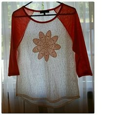 Almost Famous. Size L Top Crotchet Flower Embellishment on White & Coral Shirt. Shirt is Stretchy & Lightweight material.  Three Quarter Length Sleeves. Almost Famous Tops Tees - Long Sleeve