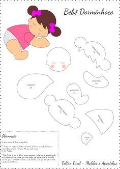 menina nanando, bebê dormindo, bebê nanando, bebê dormindo em feltro molde
