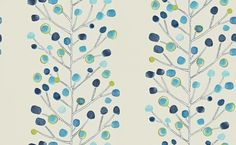 Berry Tree (110205) - Scion Wallpapers - This contemporary tree design has hand painted fresh blue and green coloured dots off on finely detailed branches showing on a beige/off white background.