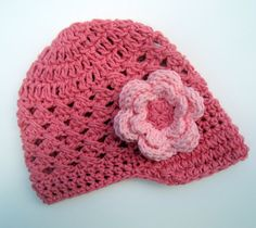 Infant/Toddler Girls Crochet Visor Beanie-Rose Pink and Light Pink-MADE TO ORDER