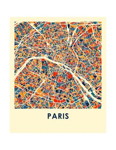 Paris Map Print Full Color Map Poster by iLikeMaps on Etsy Paris Poster, City Map Poster, Paris Map, Maps Design, Design Design, France Map, Vintage Maps, City Maps, Funny Art