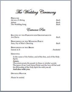 Catholic Wedding Program Idea