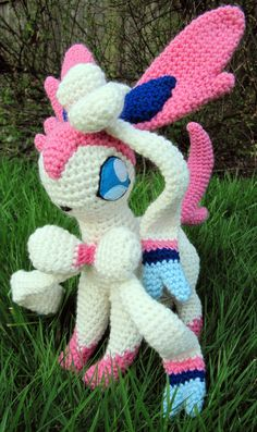 """Mew! So adorable Much quicker to make than Houndoom, too. Unfortunately you can't see it in the picture, but it does have three fingers on each hand. And the tail... the tail is 28"""" long 10"""" high a..."""
