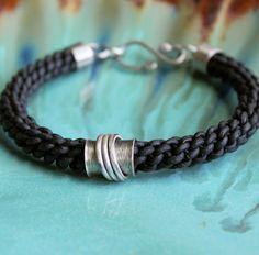 Mens Leather Bracelet Thick Black Braid by LynnToddDesigns on Etsy