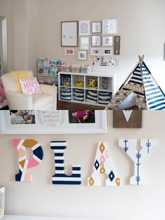 A modern playroom designed with functionality and gender neutrality in mind. Fea… A modern playroom designed with functionality and gender Modern Playroom, Playroom Design, Kids Wall Decor, Playroom Decor, Playroom Ideas, Basement Ideas, Playroom Seating, Playroom Furniture, Playroom Organization