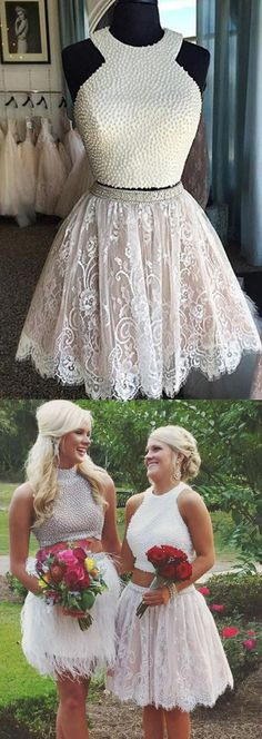 Cute Two-piece White Lace Homecoming Dress with White Pearls - Thumbnail 1