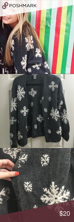 Winter sweater Super cute and warm cardigan. Has snowflakes print. Offers welcome:) Sweaters Cardigans