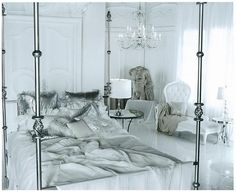 A fantasy white and silver bedroom