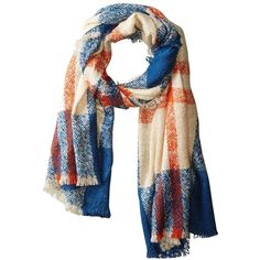 Lulla Women's Wrap, Blue/Orange/White ($45) ❤ liked on Polyvore featuring accessories, scarves, blue scarves, blue shawl, white shawl, wrap shawl and lightweight scarves