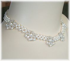 Items similar to Regal Elegance Woven Bridal Necklace - Ivory Pearls and Clear Swarovski Austrian Crystal with silver accent beading on Etsy Bridal Necklace, Bridal Jewelry, Beaded Necklace, New Necklace Designs, Ivory Pearl, Swarovski Pearls, Austrian Crystal, Beading Patterns, Costume Jewelry
