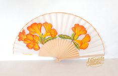 NEW season range of wood with fabric in white with flowers painted Orange hand, hand-painted Spanish fan