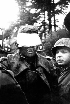 A German soldier blinded by a booby trap, Battle of the Bulge, Hürtgen Forest, Germany, World War II, December 1944. (Photo by Tony Vaccaro/Getty Images)