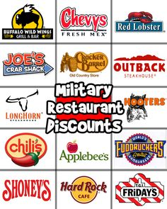 14 Military Restaurant Discounts - SHUT UP! This makes it even more fun to go out to dinner with my Sailor!