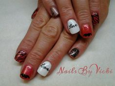 """Gel Polish, Dashing Diva DesignFX, Hand Painted """"Love"""", Zebra Stripes and Mustaches! Yes!!"""