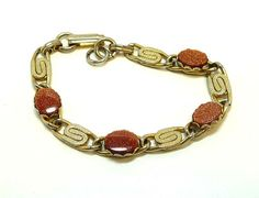 Buy Gold Stone & Serpentine linky Bracelet - Vintage BOHO by thejewelseeker. Explore more products on http://thejewelseeker.etsy.com