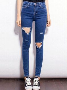 Blue Skinny Cut Out Pants - Fashion Clothing, Latest Street Fashion At Abaday.com