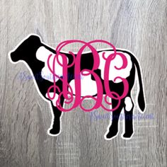 Spot Monogram cow decal for car, laptop, cup, cell phone, Yeti, iphone, notebook, tumbler, boots, rambler, cooler