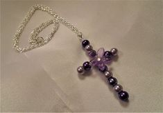 "Lavender Floral Pearl Cross Pendant Necklace 18"" Silvertone chain handmade gift #Handmade #Pendant"