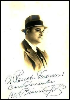 """Gigli, Beniamino   Autographed and inscribed 4"""" x 6"""" Grazioli of Firenze photograph on a postcard mount, 1936. Great sepia portrait image of the honey voiced tenor in a fedora. A rather uncommon portrait of Gigli. #VerdiMuseum"""