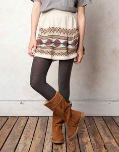 The Fashionista Coach: Q & A Fashionable Thursday: Fall Skirts & Tights School Looks, Fall Winter Outfits, Autumn Winter Fashion, Tribal Print Skirt, Aztec Skirt, Tribal Prints, Fall Skirts, Lookbook, Mode Vintage