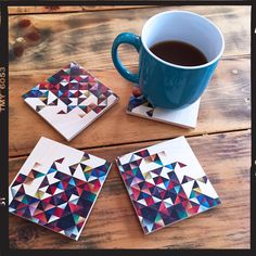Is there an alternate universe where coffee is addicted to me?!  Featuring the Flox 'Prism' Wooden Coasters.