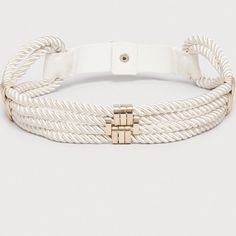 """bebe // Rope Belt // cream color Nautical chic belt to add a nice waist to dresses and tops. Cream color with gold hardware available only.  Stretch back snap closure. New with tags. Size Medium/Large.  Approximate Measurements: Waist 28"""" can stretch up to 33""""  ✅Bundle discounts ✅ Will consider reasonable offers 🚫No trades ✉️Please let me know if you have any other questions, I'm always happy to answer.  📷 Check out my life & style on Instagram follow @ombrestudios 💁🏻 bebe Accessories…"""