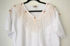 White fringe top by PennyandLilly on Etsy