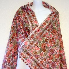 Flowers And Flowers 100% Pure New Wool Woolen Crewel Embroidered Kashmir Embroidery Large Shawl