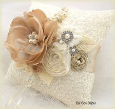 Ring Bearer Pillow Bridal Pillow in Ivory and by SolBijou on Etsy, $105.00