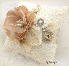 Ring Bearer Pillow Flower Girl Basket Ivory Cream Gold by SolBijou Wedding Ring Cushion, Wedding Pillows, Ring Bearer Pillows, Ring Pillows, Ring Holder Wedding, Wedding Brooch Bouquets, Flower Girl Basket, Silk Ribbon Embroidery, Handmade Flowers