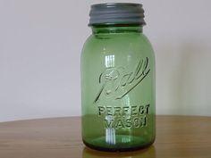 1 Beautiful Rare Green Ball Perfect Mason Quart Vintage Canning Jar With Lid | eBay