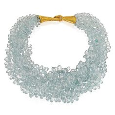 """Selma's Velvet Castle on Instagram: """"Gold and aquamarine necklace sold @sothebys in 2013. The six-strand necklace composed of aquamarine briolettes and completed by a clasp…"""" Beach Jewelry, Luxury Jewelry, Jewelry Box, Jewelry Accessories, Jewelry Necklaces, Jewellery, Aquamarine Necklace, Strand Necklace, Crochet Necklace"""