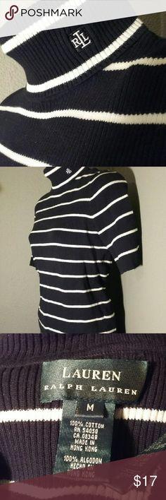 Black and white Lauren turtleneck short sleeve M 100% cotton in a crisp black and white knit with half sleeves. EUC, size M. Lauren Ralph Lauren Sweaters Cowl & Turtlenecks