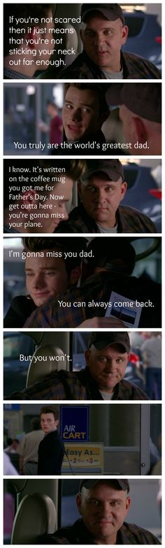 "4x01 ""The New Rachel"" - Burt sends Kurt off to New York City  this made me cry when i watched it. i love kurt and his dad."