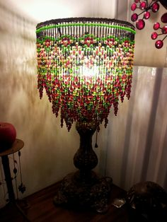 Beaded Lamp Shades Delectable Beaded Lamp Shade Custom Made Vintage Table Lamp Base  Pinterest Decorating Inspiration