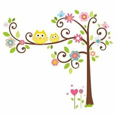 RoomMates Happy Scroll Tree Peel and Stick Giant Wall Decal