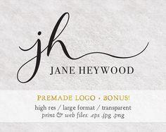 Premade logo design / Modern calligraphy font design / Hand lettering initial typography / Custom / Text based / Classy feminine signature